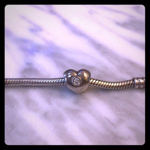 Pandora silver Puffed Heart With Clear Stone Charm